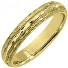 MENS WEDDING BAND ENGAGEMENT RING 14KT YELLOW GOLD HIGH GLOSS FINISH 4mm