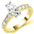 1.6 CARAT WOMENS DIAMOND ENGAGEMENT WEDDING RING MARQUISE CUT SHAPE YELLOW GOLD