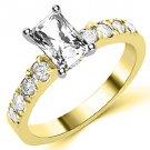 1.6 CARAT WOMENS DIAMOND ENGAGEMENT WEDDING RING RADIANT CUT SHAPE YELLOW GOLD