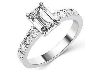 1.6 CARAT WOMENS DIAMOND ENGAGEMENT WEDDING RING EMERALD CUT SHAPE WHITE GOLD
