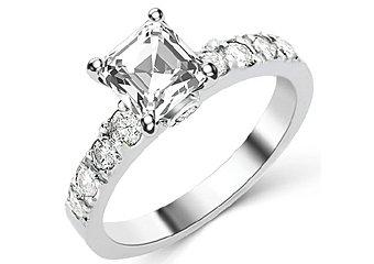 1.6 CARAT WOMENS DIAMOND ENGAGEMENT WEDDING RING ASSCHER CUT SHAPE WHITE GOLD