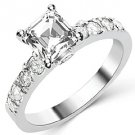 1.6 CARAT WOMENS DIAMOND ENGAGEMENT WEDDING RING ASSCHER CUT SHAPE WHITE GOLD