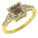 WOMENS  BROWN CHAMPAGNE DIAMOND ENGAGEMENT PROMISE RING PRINCESS SQUARE