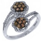 WOMENS  BROWN CHAMPAGNE DIAMOND ENGAGEMENT PROMISE RING 10K WHITE GOLD