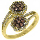 WOMENS  BROWN CHAMPAGNE DIAMOND ENGAGEMENT PROMISE RING 10K YELLOW GOLD
