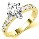 1.6 CARAT WOMENS DIAMOND ENGAGEMENT WEDDING RING PEAR SHAPE YELLOW GOLD