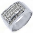 MENS 3.03 CARAT PRINCESS SQUARE CUT DIAMOND RING WEDDING BAND 18KT WHITE GOLD