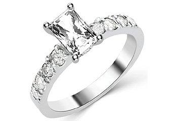 1.6 CARAT WOMENS DIAMOND ENGAGEMENT WEDDING RING RADIANT CUT SHAPE WHITE GOLD