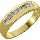 MENS 1 CARAT PRINCESS SQUARE CUT DIAMOND RING WEDDING BAND 14KT YELLOW GOLD