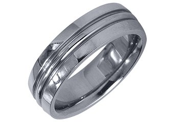 MENS WEDDING BAND ENGAGEMENT RING WHITE GOLD HIGH GLOSS FINISH 6mm