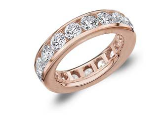 DIAMOND ETERNITY BAND WEDDING RING ROUND CHANNEL SET 14KT ROSE GOLD 5 CARATS
