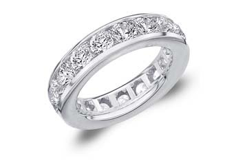 DIAMOND ETERNITY BAND WEDDING RING ROUND CHANNEL SET 14KT WHITE GOLD 5 CARATS