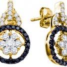WOMENS 1.09 CARAT BLACK DIAMOND DANGLE EARRINGS ROUND CUT PAVE YELLOW GOLD