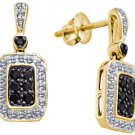 WOMENS .50 CARAT BLACK DIAMOND DANGLE EARRINGS ROUND CUT PAVE YELLOW GOLD
