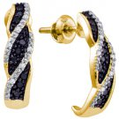 WOMENS .19 CARAT BLACK DIAMOND HOOP EARRINGS ROUND CUT PAVE 10KT YELLOW GOLD