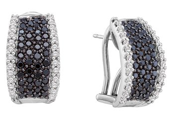 WOMENS 1.52 CARAT BLACK DIAMOND HOOP EARRINGS ROUND CUT PAVE 14KT WHITE GOLD