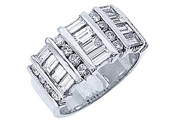 2.78CT WOMENS BRILLIANT ROUND BAGUETTE CUT DIAMOND RING WEDDING BAND WHITE GOLD
