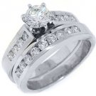 1.5CT WOMENS DIAMOND ENGAGEMENT RING WEDDING BAND BRIDAL SET ROUND WHITE GOLD