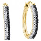 WOMENS .51 CARAT BLACK DIAMOND HOOP EARRINGS ROUND CUT PAVE 14KT YELLOW GOLD