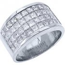 MENS 3.38 CARAT PRINCESS SQUARE CUT DIAMOND RING WEDDING BAND 18KT WHITE GOLD