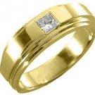 MENS 1/3 CARAT SOLITAIRE PRINCESS CUT DIAMOND RING WEDDING BAND 14KT YELLOW GOLD