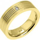 MENS SOLITAIRE BRILLIANT ROUND CUT DIAMOND RING WEDDING BAND BEZEL YELLOW GOLD