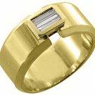 MENS 1/3 CARAT BAGUETTE CUT DIAMOND RING WEDDING BAND 14KT YELLOW GOLD