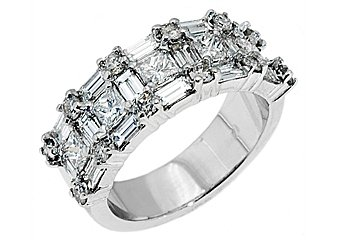 2.5CT WOMENS PRINCESS BAGUETTE ROUND CUT DIAMOND RING WEDDING BAND WHITE GOLD