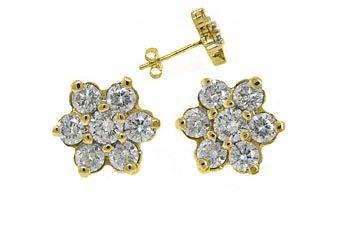 1.44 CARAT BRILLIANT ROUND CUT FLOWER SHAPE DIAMOND STUD EARRINGS YELLOW GOLD