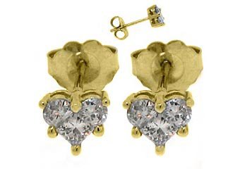 2/3 CARAT HEART SHAPE ROUND PRINCESS SQUARE DIAMOND STUD EARRINGS YELLOW GOLD