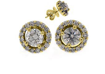 1.78 CARAT BRILLIANT ROUND CUT DIAMOND STUD HALO EARRINGS 18K YELLOW GOLD