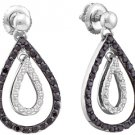WOMENS .78 CARAT BLACK DIAMOND DANGLE TEAR EARRINGS ROUND CUT PAVE WHITE GOLD