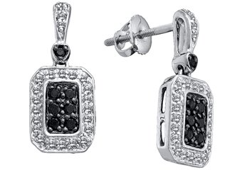 WOMENS .50 CARAT BLACK DIAMOND DANGLE EARRINGS ROUND CUT PAVE WHITE GOLD