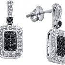 WOMENS .50 CARAT BLACK DIAMOND DANGLE EARRINGS ROUND CUT PAVE WHITE GOLD