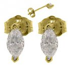 WOMENS 1/2 CARAT MARQUISE CUT DIAMOND STUD EARRINGS 14KT YELLOW GOLD