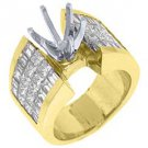 3.34 CARAT WOMENS DIAMOND ENGAGEMENT RING SEMI-MOUNT PRINCESS CUT YELLOW GOLD