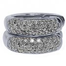 WOMENS 1/2 CARAT BRILLIANT ROUND CUT MICRO PAVE DIAMOND HOOP EARRINGS WHITE GOLD