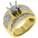 3.18 CARAT WOMENS DIAMOND ENGAGEMENT RING SEMI-MOUNT PRINCESS CUT YELLOW GOLD