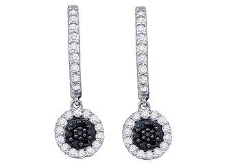 WOMENS .49 CARAT BLACK DIAMOND DANGLE EARRINGS ROUND CUT PAVE WHITE GOLD