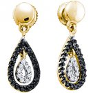 WOMENS .34 CARAT BLACK DIAMOND DANGLE EARRINGS TEAR ROUND CUT PAVE YELLOW GOLD