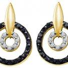 WOMENS .63 CARAT BLACK DIAMOND DANGLE EARRINGS ROUND CUT PAVE YELLOW GOLD