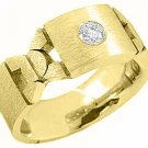 MENS .35 CARAT SOLITAIRE ROUND CUT DIAMOND RING WEDDING BAND 14KT YELLOW GOLD