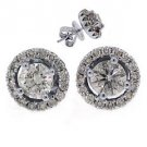 1.78 CARAT BRILLIANT ROUND CUT DIAMOND STUD HALO EARRINGS 18K WHITE GOLD