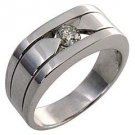 MENS .40 CARAT SOLITAIRE ROUND CUT DIAMOND RING WEDDING BAND TENSION SET