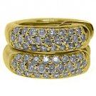 WOMENS 1/2 CARAT BRILLIANT ROUND MICRO PAVE DIAMOND HOOP EARRINGS YELLOW GOLD