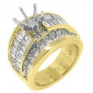 5 CARAT WOMENS DIAMOND ENGAGEMENT RING SEMI-MOUNT BAGUETTE CUT YELLOW GOLD