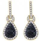 WOMENS 1.80 CARAT BLACK DIAMOND DANGLE EARRINGS ROUND CUT PAVE YELLOW GOLD