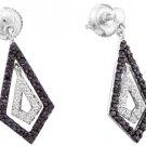 WOMENS .58 CARAT BLACK DIAMOND DANGLE EARRINGS ROUND CUT PAVE WHITE GOLD