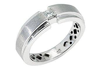 MENS 1/3 CARAT SOLITAIRE PRINCESS SQUARE CUT DIAMOND RING WEDDING BAND GOLD