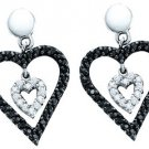 WOMENS .58 CARAT BLACK DIAMOND DANGLE EARRINGS HEART SHAPE PAVE WHITE GOLD